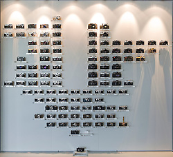 "SOLMS, GERMANY - MAY-18-2009 - The ""Leica Family Tree"" display, in the lobby of Leica's HQ in Solms, Germany. (Photo © Jock Fistick)"