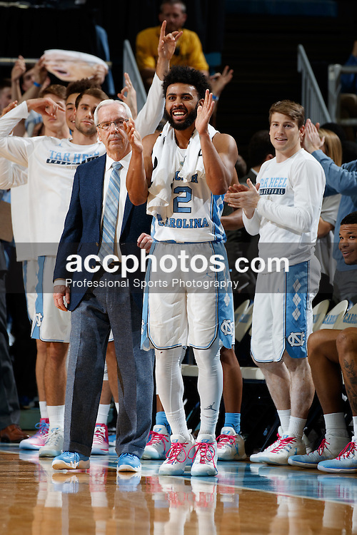 CHAPEL HILL, NC - JANUARY 26: Joel Berry II #2 of the North Carolina Tar Heels celebrates against the Virginia Tech Hokies on January 26, 2017 at the Dean Smith Center in Chapel Hill, North Carolina. North Carolina won 91-72. (Photo by Peyton Williams/UNC/Getty Images) *** Local Caption *** Joel Berry II
