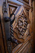 Detail on a wooden door in Morelia, Michoacan state Mexico. The city is a UNESCO World Heritage Site and hosts one of the best preserved collection of Spanish Colonial architecture in the world.