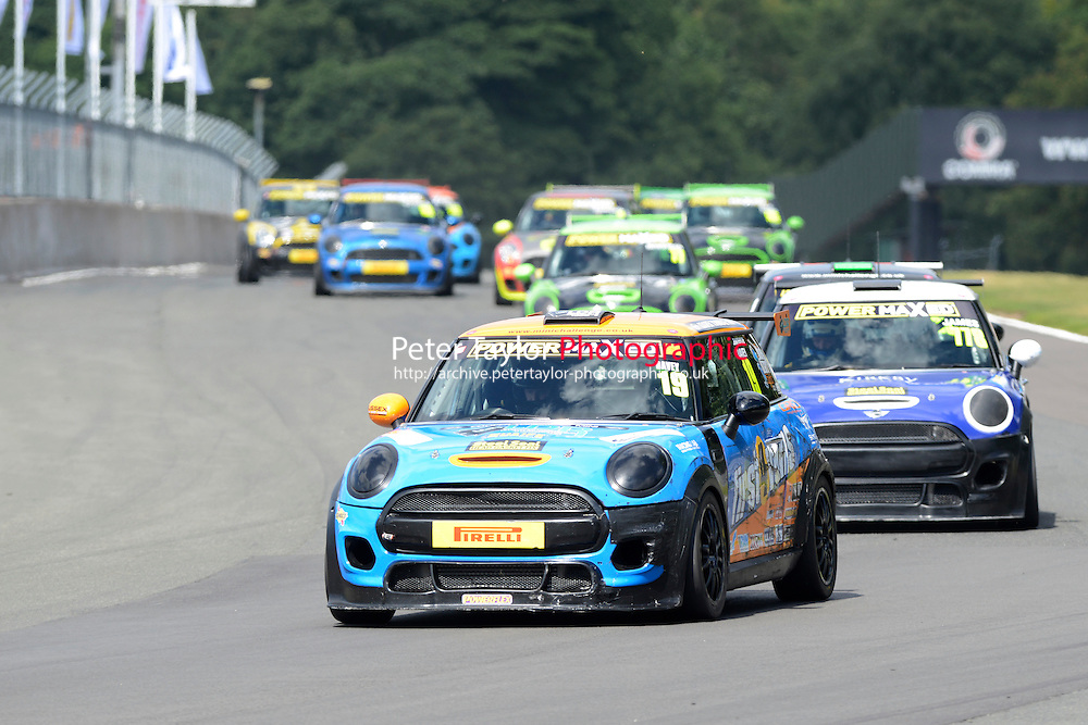 #19 Lawrence Davey Mini F56 during Power Maxed Mini Challenge - F56/JCW - Race 1 as part of the Mini Festival  at Oulton Park, Little Budworth, Cheshire, United Kingdom. August 08 2015. World Copyright Peter Taylor. Copy of publication required for printed pictures.  Every used picture is fee-liable. http://archive.petertaylor-photographic.co.uk