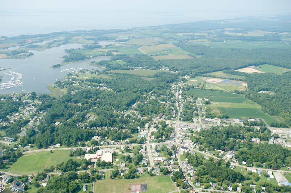 Aerial of Maryland farm landscape and Chesapeake Bay shoreline