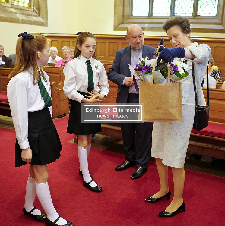 ** Exclusive **<br /> <br /> Princess Royal visits Kirk of Calder, Thursday 25th May 2017<br /> <br /> The Princess Royal visited Kirk of Calder in Mid Calder, Livingston today to accept a cheque on behalf of The Vine Trust.<br /> <br /> The Princess Royal is presented with flowers by 11-year-olds Daisy Stewart and Robyn McKissock who had taken part in a sponsored bike ride for the charity.<br /> <br /> £85,500 has been raised by members and organisations of the kirk to help fund an orphanage in Tanzania.<br /> <br /> There was an increased police presence due to the recent Manchester bombing.<br /> <br /> (c) Alex Todd   Edinburgh Elite media