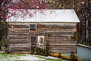 A heavy snowfall creates a beautiful landscape vignette of this small country barn in High Point, North Carolina