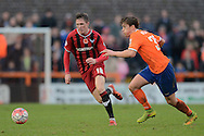 John Lundstram of Oxford United looks to get past Alex Woodyard of Braintree Town during the FA Cup match between Braintree Town and Oxford United at the Avanti Stadium, Braintree<br /> Picture by Richard Blaxall/Focus Images Ltd +44 7853 364624<br /> 08/11/2015
