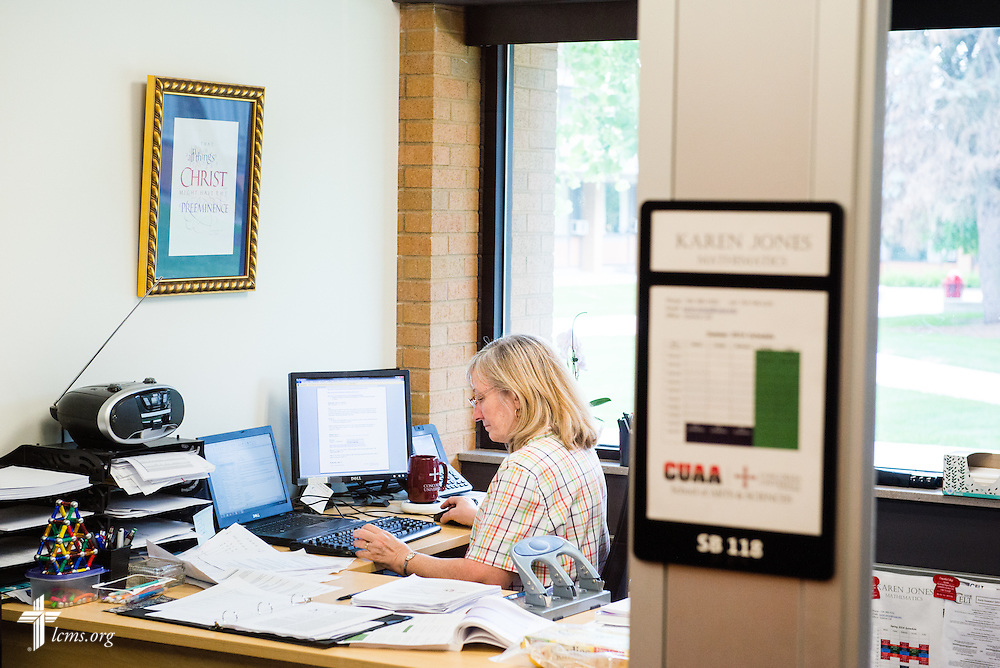 Karen Jones, assistant professor at Concordia University Ann Arbor, works in her office in the renovated science building on Wednesday, July 2, 2014, in Ann Arbor, Mich. LCMS Communications/Erik M. Lunsford