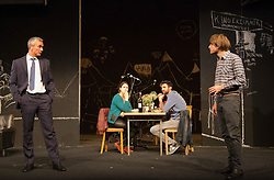 "© Licensed to London News Pictures. 24/09/2014. London, England. L-R: Ingo Hülsmann as Member of the City Council, Eva Meckbach as Mrs Stockmann, Renato Schuch  as Hovstad and Christoph Gawenda as Dr. Stockmann. German theatre company Schaubühne Berlin present an adaptation of ""An Enemy of the People"" by Henrik Ibsen at the Barbican Theatre, Barbican Centre, from 24-28 September 2014. The play is directed by Thomas Ostermeier and part of the International Ibsen Season. Photo credit: Bettina Strenske/LNP"