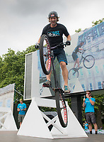 Stunt cyclist Andrei Burton breaks a Guinness World Record in the London Trials Championships, presented by Buxton, at this year's Prudential RideLondon FreeCycle 29/07/2017<br /> <br /> Photo: Tom Lovelock/Silverhub for Prudential RideLondon<br /> <br /> Prudential RideLondon is the world's greatest festival of cycling, involving 100,000+ cyclists – from Olympic champions to a free family fun ride - riding in events over closed roads in London and Surrey over the weekend of 28th to 30th July 2017. <br /> <br /> See www.PrudentialRideLondon.co.uk for more.<br /> <br /> For further information: media@londonmarathonevents.co.uk
