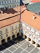 High-angle view of the Vilnius University Courtyard, from the bell tower, in Senamiestyje/Old Town, Vilnius, Lithuania
