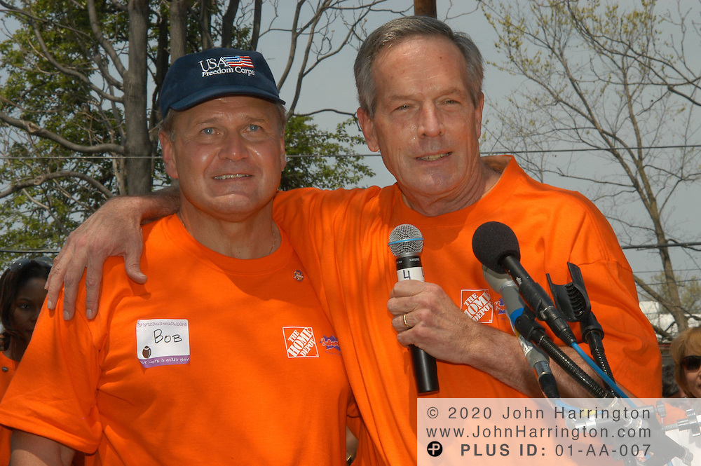 Bob Nardelli, CEO of Home Depot, at the Children of Mine Development Center in Washington, DC on April 18, 2004, speaks prior to helping to build a new playground.<br />
