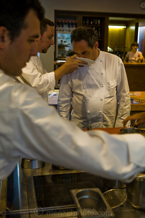 Ferran Adrià, chef of El Bulli restaurant near Rosas on the Costa Brava in northern Spain, smells ingredients in the kitchen of the restaurant. (Ferran Adria is featured in the book What I Eat: Around the World in 80 Diets.)