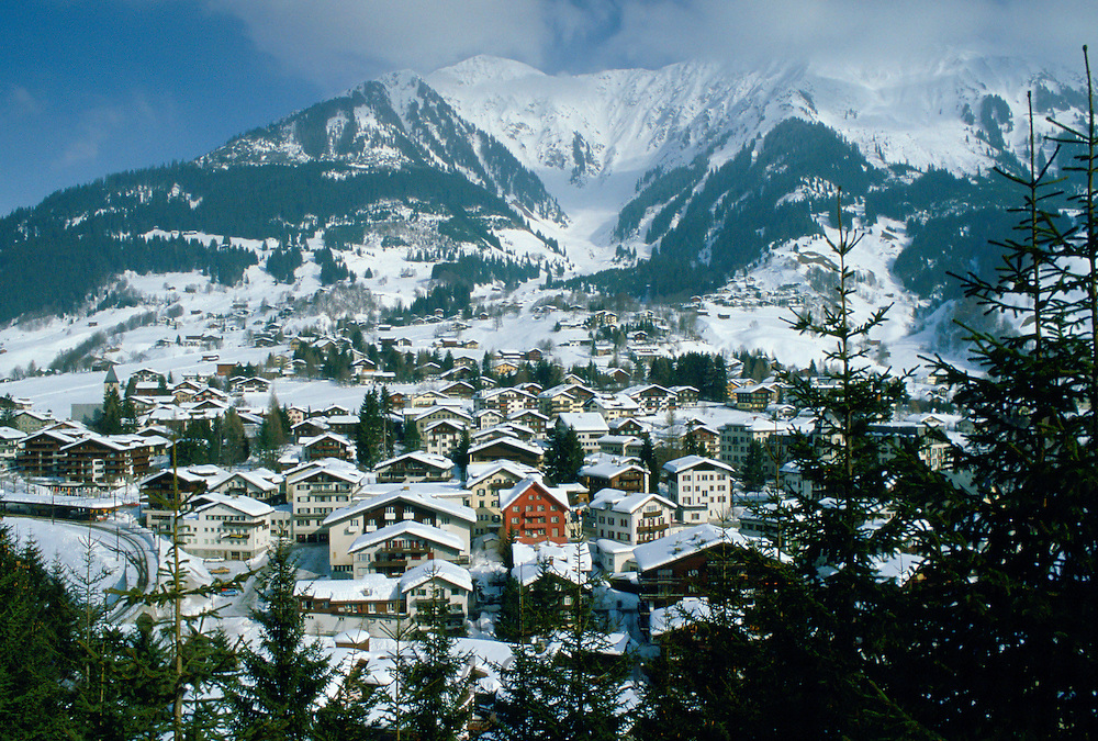 Luxury ski resort Klosters nestling at the foot of the Swiss Alps, Swizerland