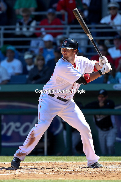 March 12, 2011; Fort Myers, FL, USA; Boston Red Sox catcher Jarrod Saltalamacchia (39) during a spring training exhibition game against the Florida Marlins  at City of Palms Park. The Red Sox defeated the Marlins 9-2.  Mandatory Credit: Derick E. Hingle