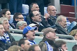 13.04.2011, Veltins Arena, Gelsenkirchen, GER, UEFA CL Viertelfinale, Rueckspiel, FC Schalke 04 (GER) vs Inter Mailand (ITA), im Bild: Schalkes Boss Toennies (M) schreit ganz laut den Schalker 2:1 Torschuetzen Hoewedes mit  EXPA Pictures © 2011, PhotoCredit: EXPA/ nph/  Mueller       ****** out of GER / SWE / CRO  / BEL ******