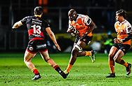 Cheetahs' Teboho Mohoje in action during todays match<br /> <br /> Photographer Craig Thomas/Replay Images<br /> <br /> Guinness PRO14 Round 18 - Dragons v Cheetahs - Friday 23rd March 2018 - Rodney Parade - Newport<br /> <br /> World Copyright © Replay Images . All rights reserved. info@replayimages.co.uk - http://replayimages.co.uk