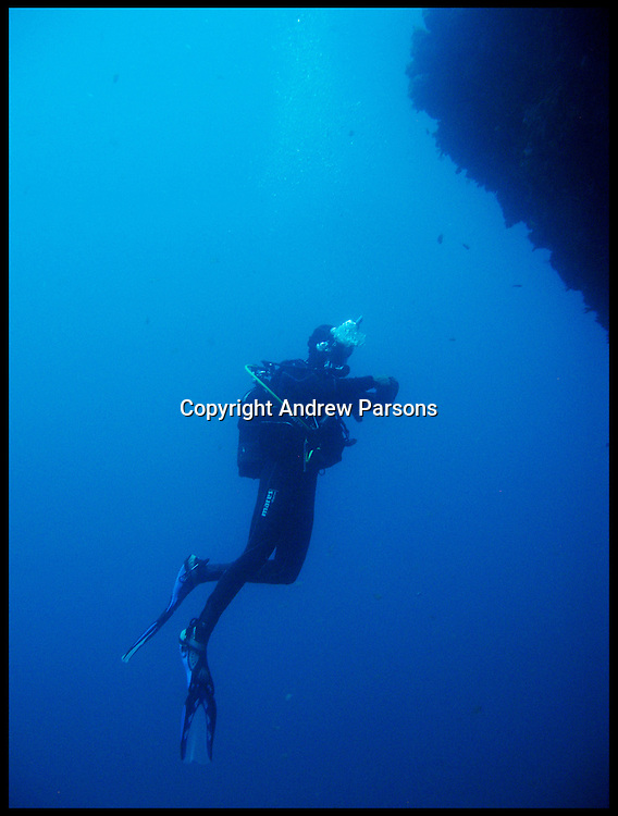 Divers in the Atlantic Ocean diving of Lanzarote, Canary Islands , May 2011. Photo By Andrew Parsons i-Images