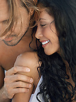 Couple embracing close up
