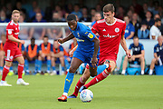 AFC Wimbledon attacker Michael Folivi (17) dribbling during the EFL Sky Bet League 1 match between AFC Wimbledon and Accrington Stanley at the Cherry Red Records Stadium, Kingston, England on 17 August 2019.