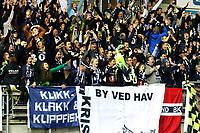 Elleville jubelscener blant Kristiansunds supportere i det 0-1 settes inn av Torgil Øwre Gjertsen i eliteseriekampen i fotball mellom Aalesund og Kristiansund på Color Line Stadion.