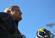 September 22 2012: Iowa Hawkeyes head coach Kirk Ferentz prepares to take the field with his team before the start of the NCAA football game between the Central Michigan Chippewas and the Iowa Hawkeyes at Kinnick Stadium in Iowa City, Iowa on Saturday September 22, 2012. Central Michigan defeated Iowa 32-31.