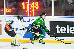 24.12.2014, Republic Square, Ljubljana, SLO, EBEL, HDD Telemach Olimpija Ljubljana vs EC Dornbirn, 30. Runde, in picture Luciano Aquino (EC Dornbirn, #29) and Aljaz Uduc (HDD Telemach Olimpija, #41) during the Erste Bank Icehockey League 30. Round between HDD Telemach Olimpija Ljubljana and EC Dornbirn on Republic Square, Ljubljana, Slovenia on 2014/12/16. Photo by Urban Urbanc / Sportida