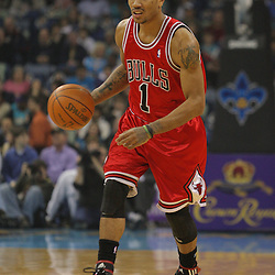 Jan 29, 2010; New Orleans, LA, USA; Chicago Bulls guard Derrick Rose (1) drives with the ball against the New Orleans Hornets during the first half at the New Orleans Arena. Mandatory Credit: Derick E. Hingle-US PRESSWIRE