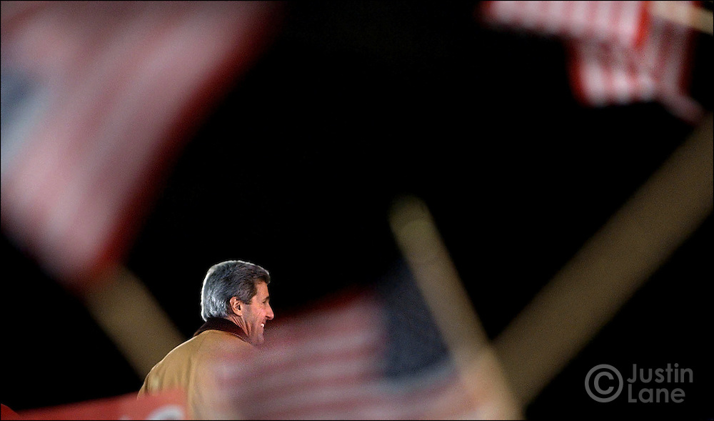United States Senator and Democratic Candidate for President John Kerry addresses a crowd during a rally at Lawrence University .on Friday, 15 October 2004 in Appleton, WI. Kerry is making campaign stops today in Wisconsin and Ohio, both battleground states in this year's presidential election, taking place on 2 November...EPA/JUSTIN LANE