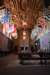 Refectory dining room with flags and tapestries, Casa grande, Hearst Castle, California, United States of America