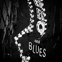 Abstract black and white Bar B Q and Blues sign.
