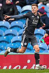 Harvey Barnes of Leicester City celebrates scoring a goal to make it 1-0 - Mandatory by-line: Robbie Stephenson/JMP - 19/01/2020 - FOOTBALL - Turf Moor - Burnley, England - Burnley v Leicester City - Premier League