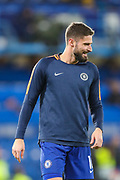 Chelsea forward Olivier Giroud (18) warms up prior to the Champions League group stage match between Chelsea and PAOK Salonica at Stamford Bridge, London, England on 29 November 2018.