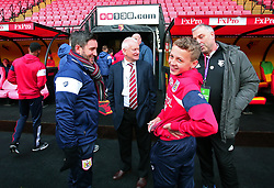 Bristol City head coach Lee Johnson and Bristol City majority shareholder Steve Lansdown chat with the Bristol City mascot at Watford - Mandatory by-line: Robbie Stephenson/JMP - 06/01/2018 - FOOTBALL - Vicarage Road - Watford, England - Watford v Bristol City - Emirates FA Cup third round proper