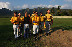 Students at the Venezuelan Airforce School, and members of the A Squadron baseball team sing their sqaudron's song after winning the schools baseball tournament.   In a continent where soccer reigns supreme, baseball is the national sport in Venezuela.  There are scores of Venezuelans playing in the MBL and many American coaches and players  spend the off season in Venezuela's winter league.