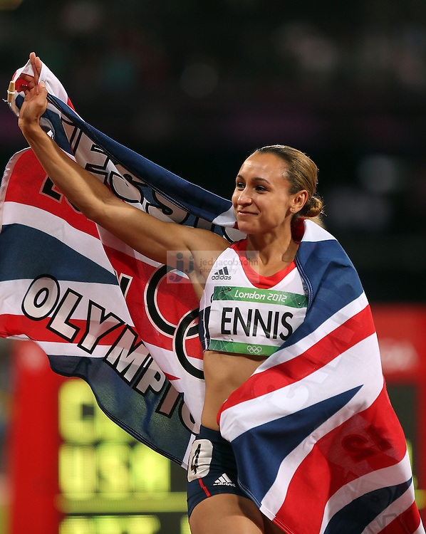 Jessica Ennis celebrates after winning the the women's heptathlon during track and field at the Olympic Stadium during day 8 of the London Olympic Games in London, England, United Kingdom on August 4, 2012..(Jed Jacobsohn/for The New York Times)....