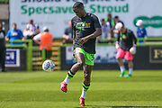 Forest Green Rovers Isaiah Osbourne(34) warming up during the EFL Sky Bet League 2 match between Forest Green Rovers and Grimsby Town FC at the New Lawn, Forest Green, United Kingdom on 5 May 2018. Picture by Shane Healey.