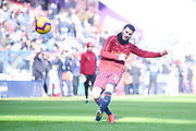 Sead Kolasinac of Arsenal (31) warming up during the Premier League match between Huddersfield Town and Arsenal at the John Smiths Stadium, Huddersfield, England on 9 February 2019.