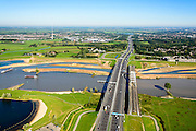 Nederland, Utrecht, Gemeente Vianen, 30-09-2015; rivier de Lek en uiterwaardvergraving Bossenwaard, Pontwaard en Heerenwaard, inclusief aanleg nevengeulen. Door de rivierverruiming kan bij hoog water, mede een gevolg van klimaatveranderingen, het water sneller afgevoerd.<br /> Omgeving Lekbrug Vianen (Jan Blankenbrug). <br /> Floodplain excavation, including construction of side channels, because of climate change, in order to guarantee quicker drain off .  <br /> <br /> luchtfoto (toeslag op standard tarieven);<br /> aerial photo (additional fee required);<br /> copyright foto/photo Siebe Swart