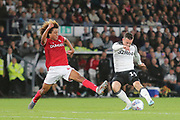 Derby County forward Jack Marriott (14) shoots past Bristol City midfielder Han-Noah Massengo (42) during the EFL Sky Bet Championship match between Derby County and Bristol City at the Pride Park, Derby, England on 20 August 2019.