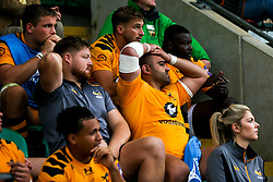 Zurabi Zhvania of Wasps looks on nervously as his teammates on the field hold on to victory over Northampton Saints - Mandatory by-line: Robbie Stephenson/JMP - 28/09/2019 - RUGBY - Franklin's Gardens - Northampton, England - Northampton Saints v Wasps - Premiership Rugby Cup