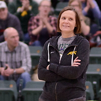 Regina Cougars Head Coach Melanie Sanford of the in action during Women's Volleyball home game on February 3 at Centre for Kinesiology, Health and Sport. Credit: Arthur Ward/Arthur Images