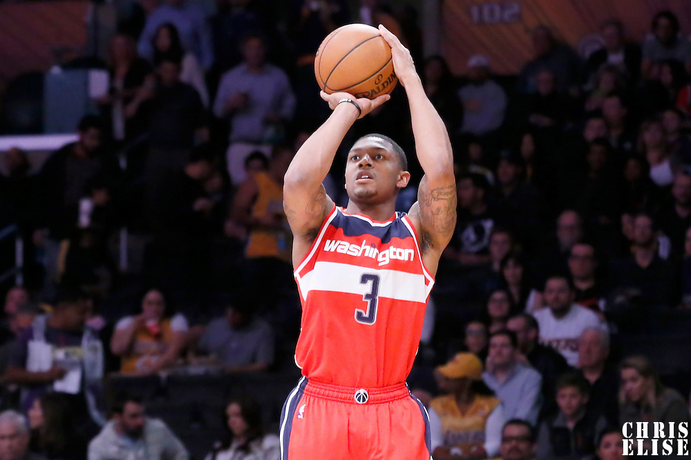 27 January 2015: Washington Wizards guard Bradley Beal (3) takes a jump shot during the Washington Wizards 98-92 victory over the Los Angeles Lakers, at the Staples Center, Los Angeles, California, USA.