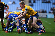 Bath scrum half Chris Cook (9) shapes to kick during the Gallagher Premiership Rugby match between Wasps and Bath Rugby at the Ricoh Arena, Coventry, England on 2 November 2019.