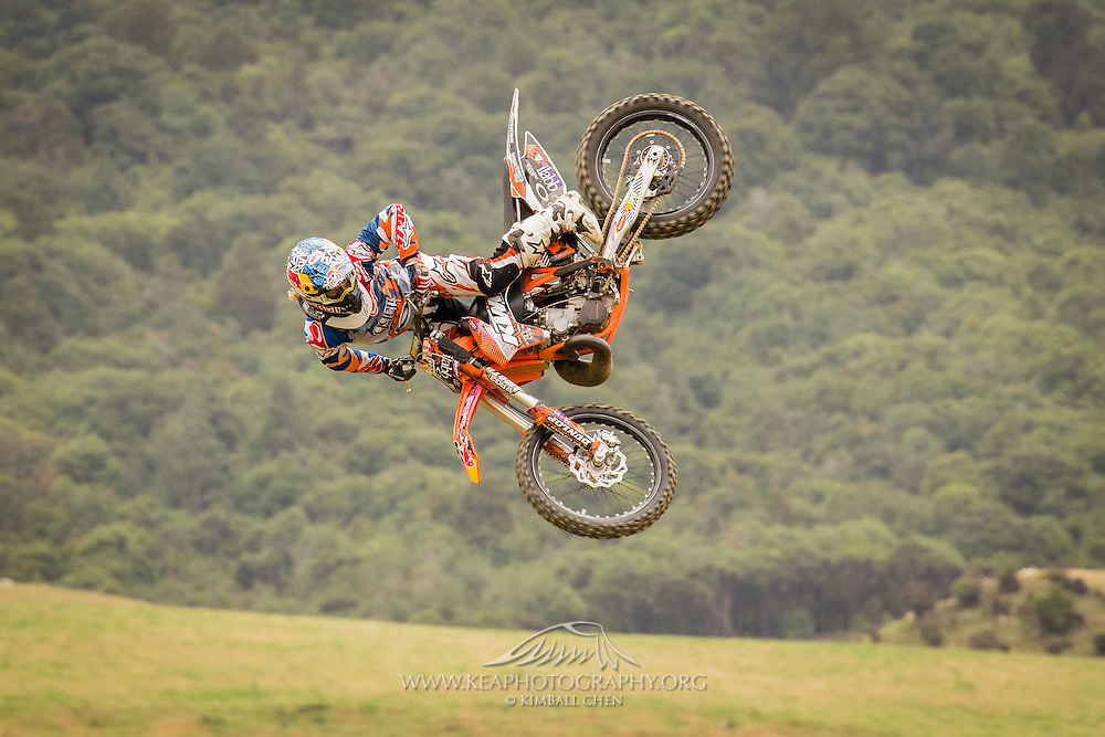 Tail whip at Farm Jam 2016, Southland, New Zealand, sponsored by Red Bull