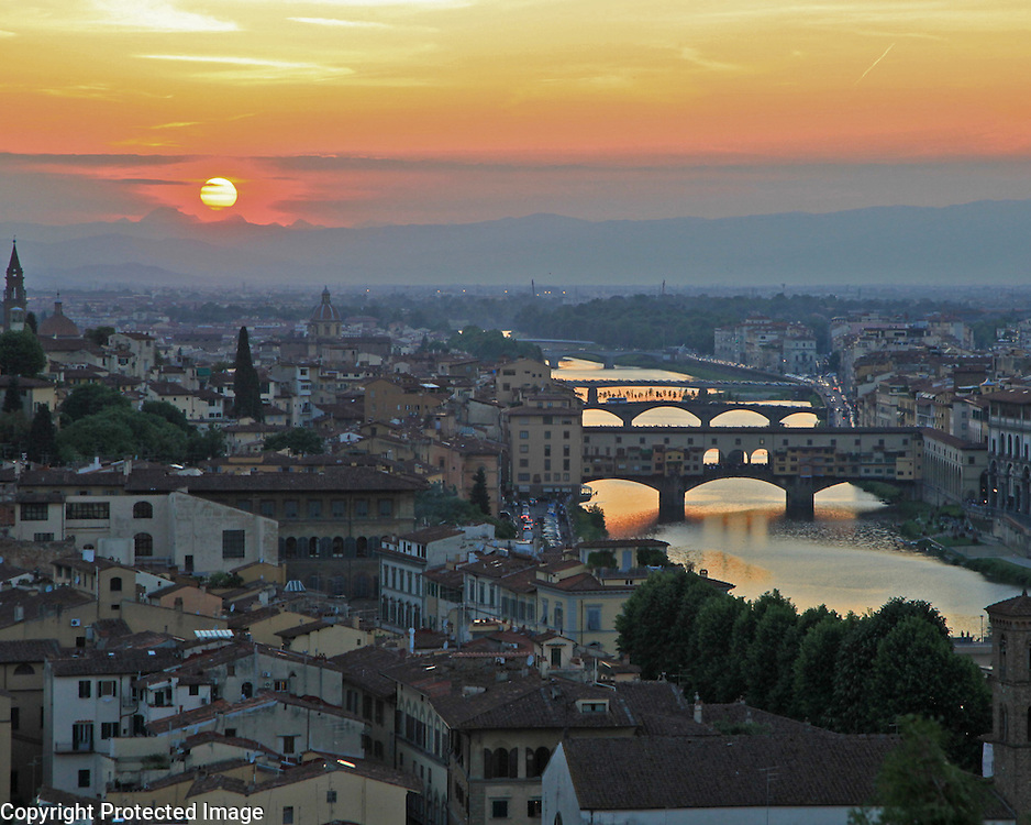 Florence Italy at sunset from atop Plaza de Michelangelo