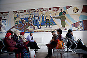 Mural in praise of local fishermen and their revolutionary zeal. Railway Station. Aralsk, Kazakhstan