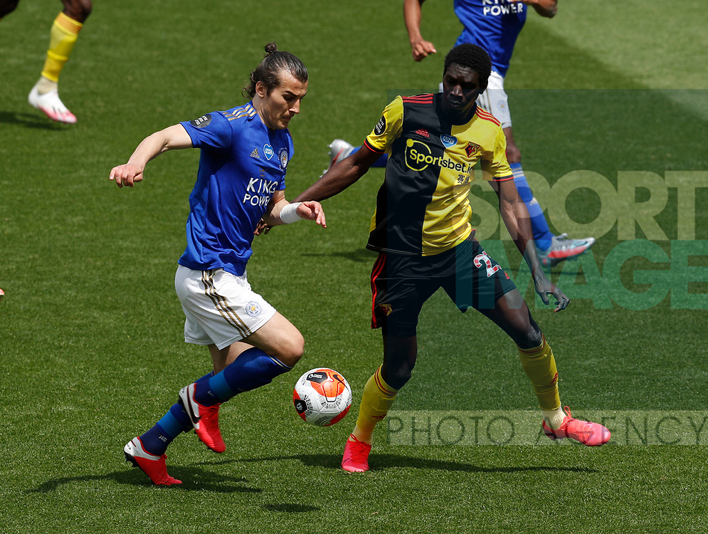 Caglar Soyuncu of Leicester City and Ismaila Sarr of Watford during the Premier League match at Vicarage Road, Watford. Picture date: 20th June 2020. Picture credit should read: Darren Staples/Sportimage