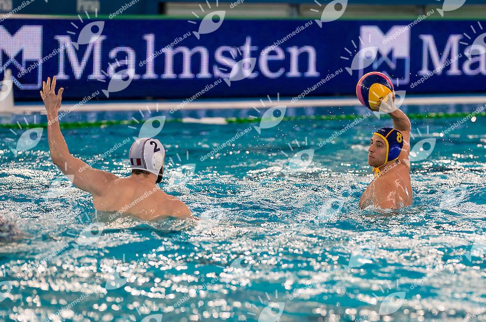 8 Albert ESPANOL ESP <br /> FINA Men's Water polo Olympic Games Qualifications Tournament 2016<br /> Final 3rd place<br /> France FRA (White) Vs Spain ESP (Blue)<br /> Trieste, Italy - Swimming Pool Bruno Bianchi<br /> Day 08  10-04-2016<br /> Photo L.Binda/Insidefoto/Deepbluemedia