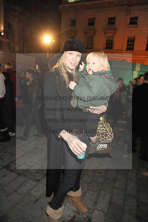 JADE PARFITT and her son JACKSON BURGESS at the opening of the Somerset House ice Rink for 2008 sponsored by Tiffany & Co held at Somerset House, The Strand, London on 18th November 2008.