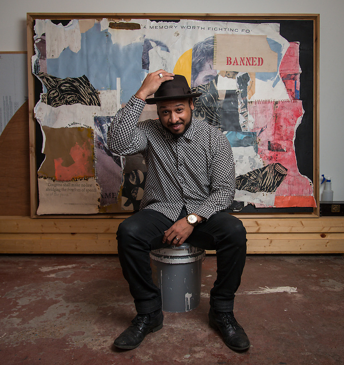 Artist and HSPVA graduate Robert Hodge poses for a photograph in his studio, January 22, 2015.
