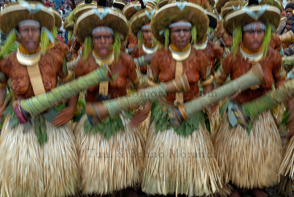 Papouasie Nouvelle Guin&radic;&copy;e. Western Highland. Mt. Hagen. Sing Sing annuel. Mt Hagen Cultural Show. // Papua New Guinea. Western Highland. Mt. Hagen. Sing Sing of Mount Hagen. <br /> The annual Mt. Hagen Cultural Show brings together many ethnic groups from all the country. The Show plays a significant role in promoting awareness and revival of ancient cultures against the threats of extinction by western influence, religion and urban drift.