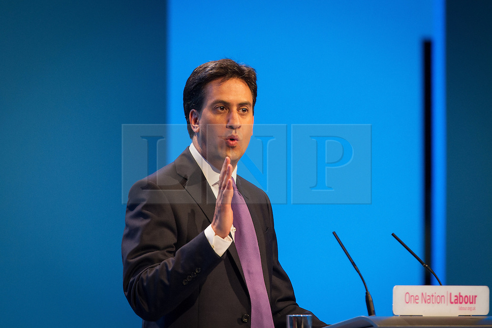 © Licensed to London News Pictures . 25/09/2013 . Brighton , UK . Labour Party Leader , ED MILIBAND , during the Q&A this afternoon (Wednesday 25th September 2013) . Day 4 of the Labour Party 's annual conference in Brighton . Photo credit : Joel Goodman/LNP